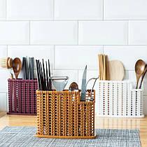 Плетений органайзер для столових приладів (коричневий)
