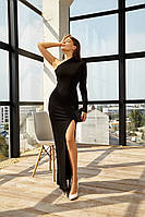 Черное вечернее платье на одно плечо ассиметричное, 8 цветов, xs,s,m,l