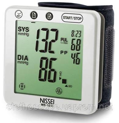 Автоматический планшетный тонометр на запястье NISSEI WS-1011 индикатор аритмии большая манжета 12,5-22,5 см.