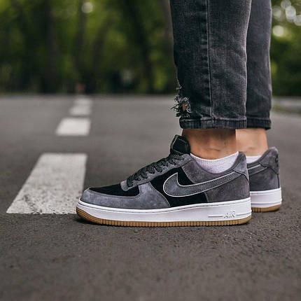 """Кроссовки Nike Air Force Lou Luxury Suede """"Серые/Черные"""", фото 2"""