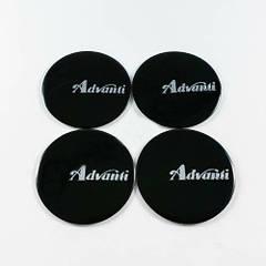 Наклейки для колесных колпачков в легкосплавные диски с логотипом   Advanti черные/хром лого (45 мм)
