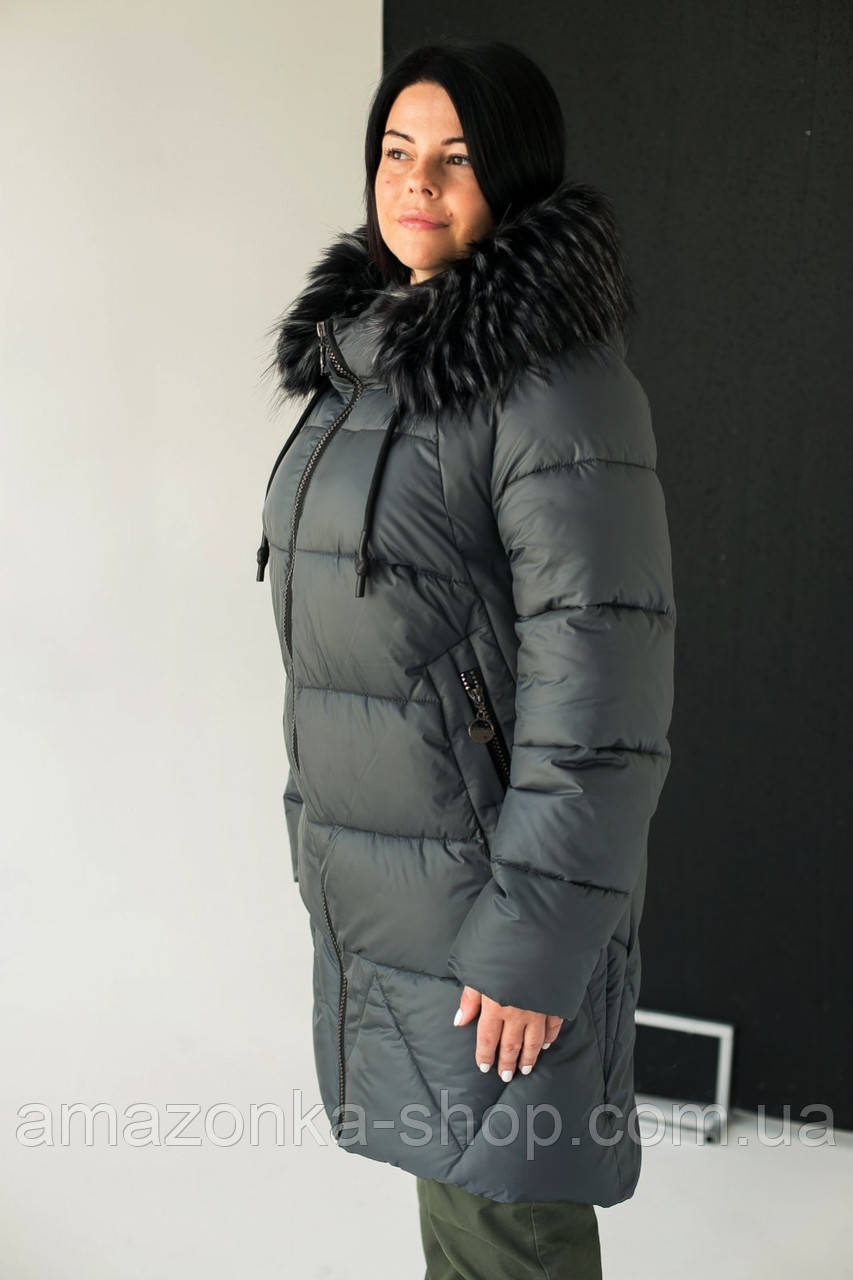 Модные женские куртки с капюшоном на экомехе новинка зима 2020- 2021