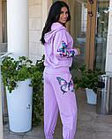 Костюм женский трикотажный брючный с фотопечатью бабочки, 4 цвета, Р-р.42-44,46-48,50-52 Код 1072В, фото 2
