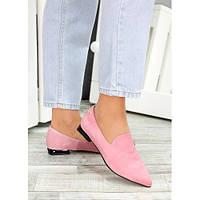 Женские туфли пудра острый носок,ботинки замшевые,женские замшевые туфли на каблуке,туфли кожаные