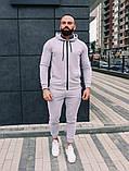 Мужской спортивный костюм весна-осень с капюшоном,цвет белый, фото 2
