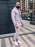 Мужской спортивный костюм весна-осень с капюшоном,цвет белый, фото 4