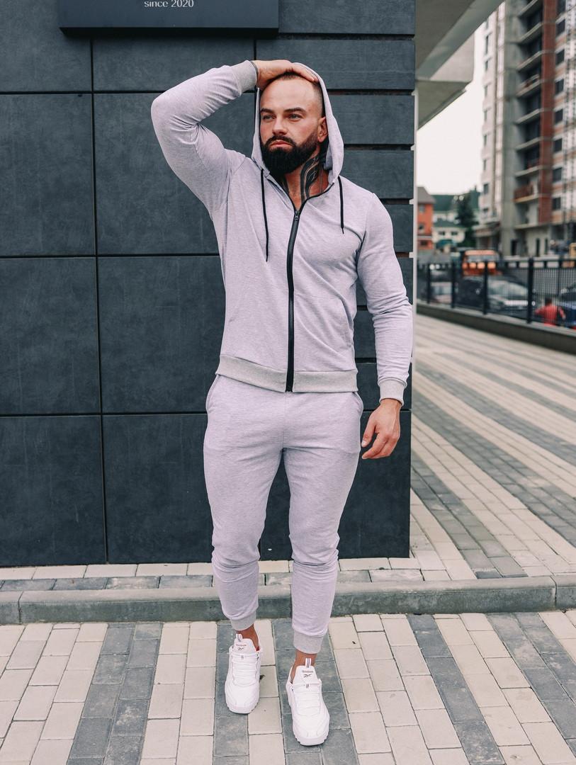 Мужской спортивный костюм весна-осень с капюшоном,цвет белый