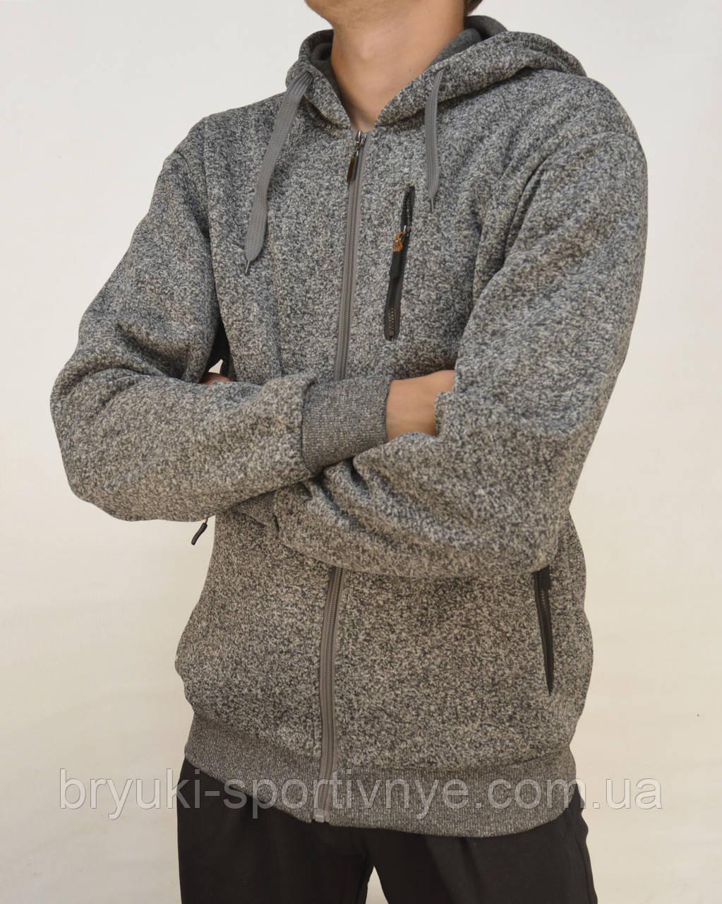 Теплая мужская флисовая толстовка на молнии с капюшоном и карманами M Серый