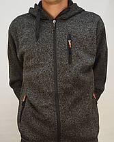 Теплая мужская флисовая толстовка на молнии с капюшоном и карманами M Серый, фото 2