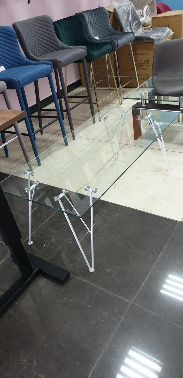Журнальный столик С-185 прозрачный Vetro Mebel 120*60*45(Н), стекло + белый металл