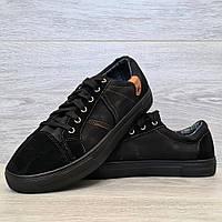 42 р. Кеды мужские демисезонные кроссовки черные (919чн)