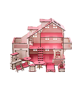 Ляльковий будинок 57х27х35 з гаражем і підсвічуванням (gp_ У 011)