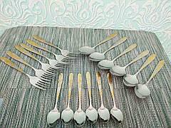 Набір столових предметів 18 шт, набір столових приладів. Столовий набір ложки, вилки, чайні ложки.