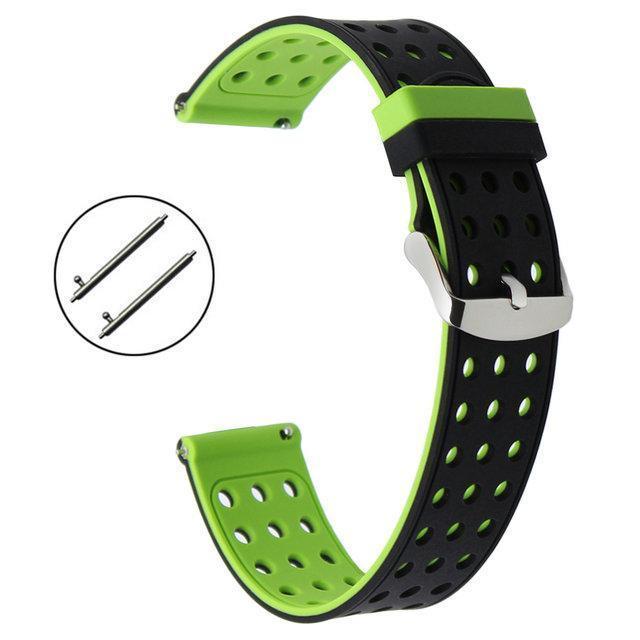 Двухсторонний ремешок с перфорацией Primo для часов Samsung Galaxy Watch 3 41mm (SM-R850) - Black&Green
