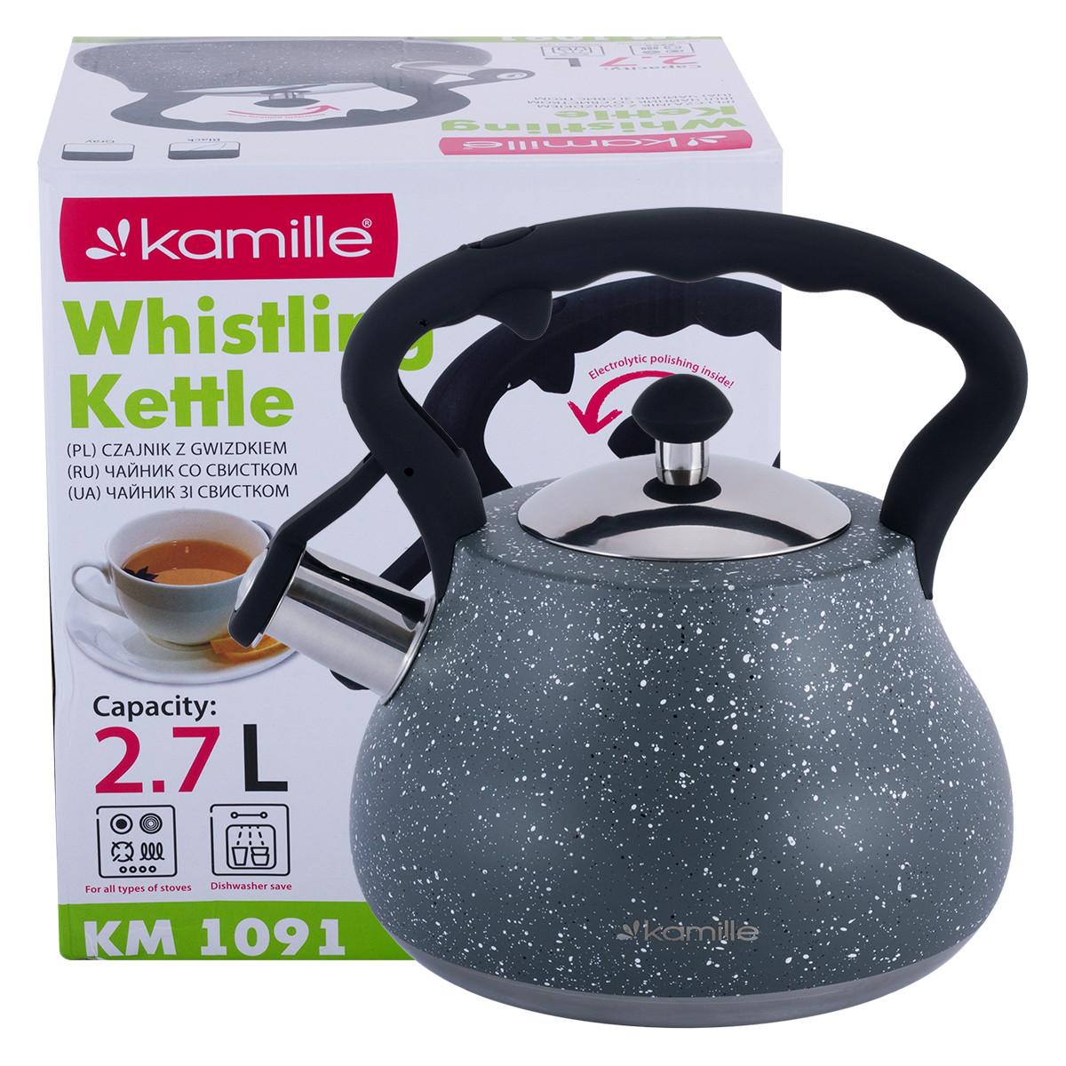 Чайник Kamille Серый 2,7л из нержавеющей стали со свистком и нейлоновой ручкой KM-1091