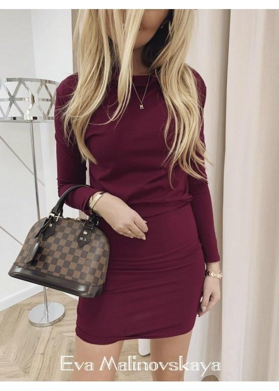 Осеннее облегающее платье под гордо с длинным рукавом