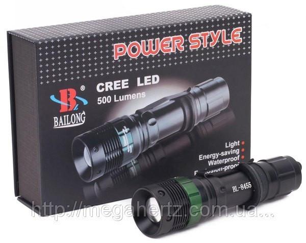 Тактический фонарик Police BL-8455 30000W с линзой