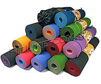 Коврик для йоги Premium TPE 6 мм + Чехол йога мат, каремат для йоги, фитнеса, пилатеса 2-х слойный 183/61/6 мм