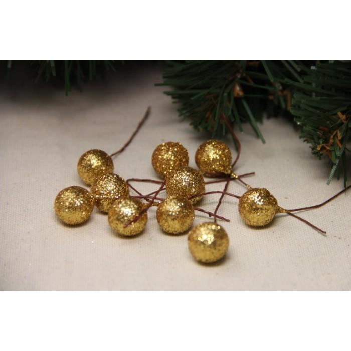Ягодка на палочке с блестками КРУПНАЯ , золото  400 шт