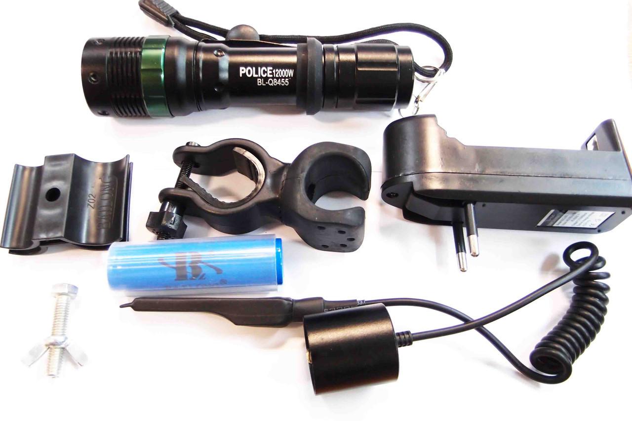Под ствольный Фонарь Police  BL-Q 8455 12000w фонарь под ружье вело фонарик