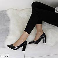 Женские туфли лодочки на толстом каблуке черные лаковые с острым носом