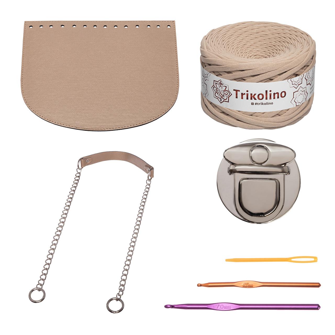 Набор для сумки-ракушки Орео МАКСИ Бронза+Кофе с молоком, фурнитура серебро