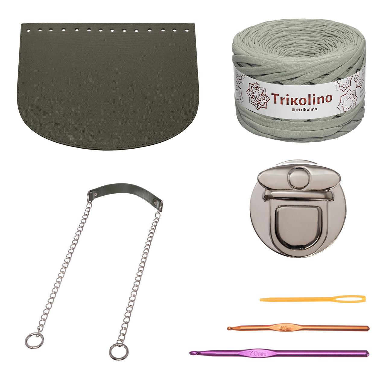 Набор для сумки-ракушки Орео МАКСИ Хаки+Оливковый, фурнитура серебро