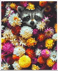 Картины по номерам - Енот в цветах   Rainbow Art™ 40х50 см.   GX34614