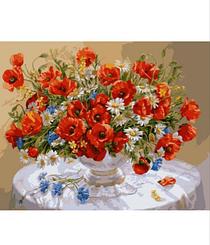 Маки в вазе - Картины по номерам | Rainbow Art™ 40х50 см. | GX8007