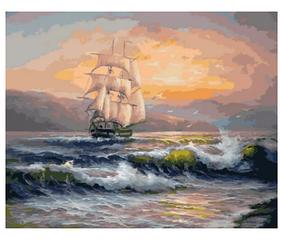 Корабль на волнах - Картины по номерам | Rainbow Art™ 40х50 см. | GX21652