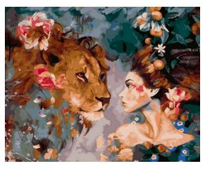 Девушка и лев - Картины по номерам   Rainbow Art™ 40х50 см.   GX23397