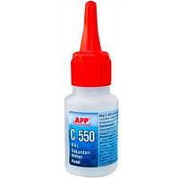 Супер-клей APP C 550 (для резины и пластмассы), 20 мл.