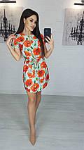 Платье миди с маками вырез капля с короткими рукавами, фото 2