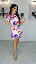 Платье миди с маками вырез капля с короткими рукавами, фото 3