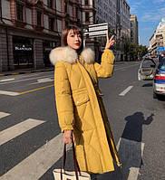 Женское пальто пуховик модные куртки зима с капюшоном, цвет горчичный, размер 46