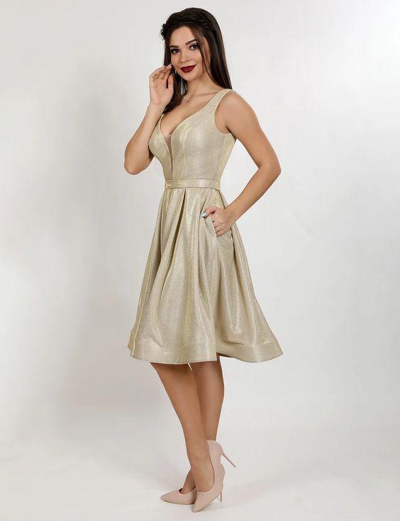 Платье женское золотистое вечернее  ENIGMA MKENP 0997