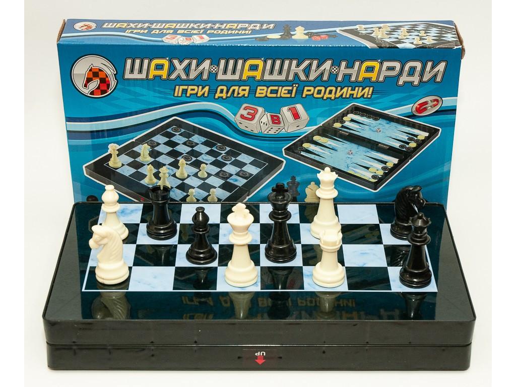 Шахматы 3 в 1 магнитные (35 Х 35 СМ) высота фигур король 6.5 см пешка 3.5 см