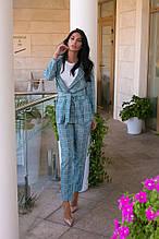 Річний брючний в клітинку з піджаком на запах, 4цвета (піджак+штани) р. 46,48,50,52 Код 990В