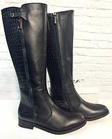Сапоги из натуральной кожи с мехом черные (О-681), фото 1
