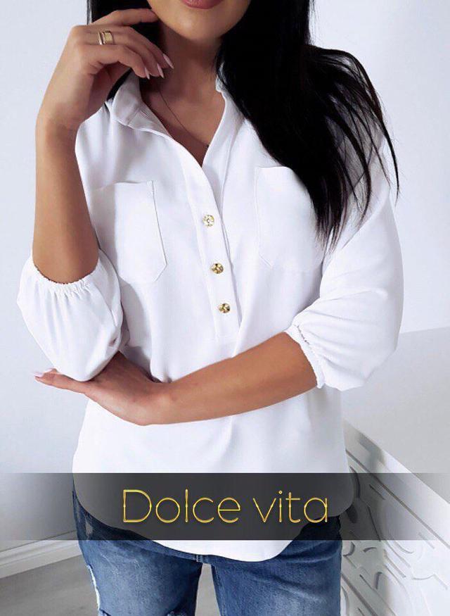 Офісна жіноча блузка з рукавом три чверті