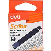 Картридж Deli EQ85130 синiй 6штук до перової ручки, картонна коробка