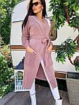 Женский кардиган с карманами и поясом длинный (в расцветках), фото 9