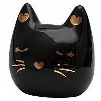 Декоративная фигурка - копилка кот, 12*11,2*8 см, черный, полистоун (240982)