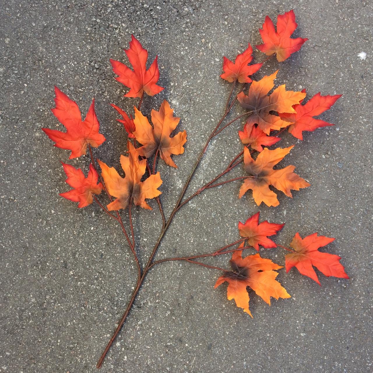 Ветка клена оранжевые осенние листья (золотая осень)  68 см ( 6 шт в уп)