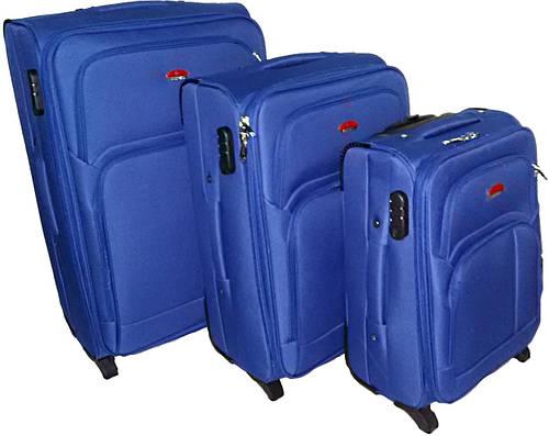 Комплект тканевых чемоданов 2-колесных 3 шт. Suitcase 913751-navy синий