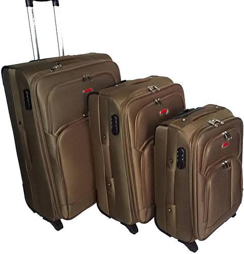 Комплект тканевых чемоданов 2-колесных 3 шт. Suitcase 913751-brown коричневый