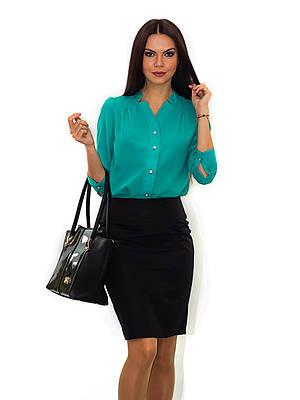 Нарядная мятная блуза с длинным рукавом
