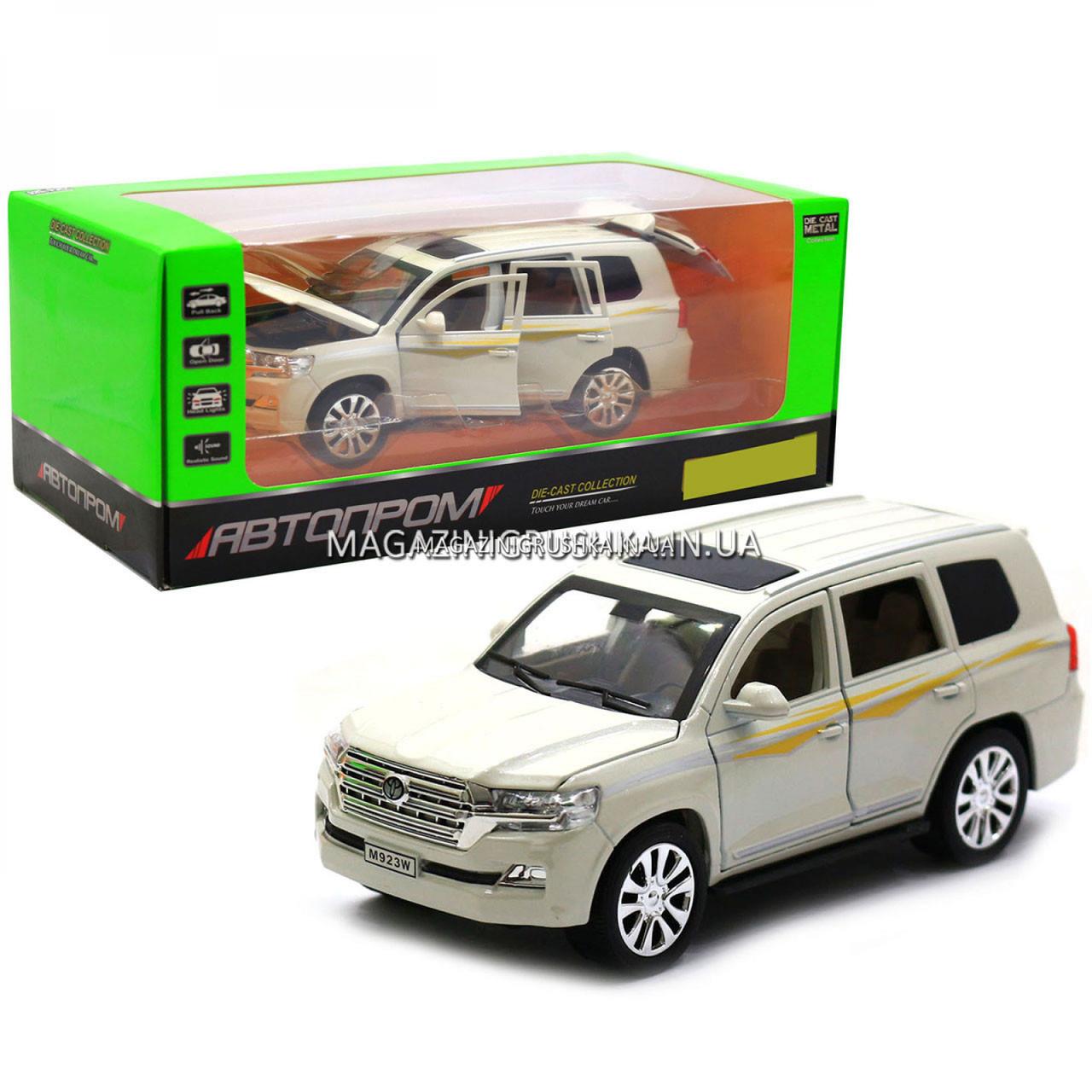 Машинка ігрова автопром «Toyota» Тойота джип, метал, 18 см, Білий (світло, звук, двері відкриваються) 7690