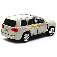 Машинка ігрова автопром «Toyota» Тойота джип, метал, 18 см, Білий (світло, звук, двері відкриваються) 7690, фото 2
