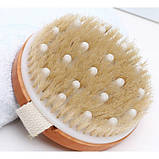 Щетка массажная круглая для тела с натуральной щетиной и массажерами, фото 4